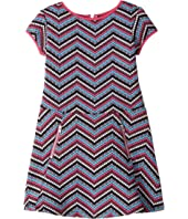 Us Angels - Cap Sleeve Princess Bodice Drop Waist Zigzag Dress (Toddler/Little Kids)