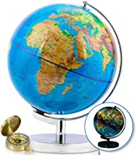 23 cm Illuminated World Globe & Compass by GetLifeBasics: See The Earth and The Stars in Details. Large Constellation View Night, Kids Educational Interactive Astronomy & Geographic Map