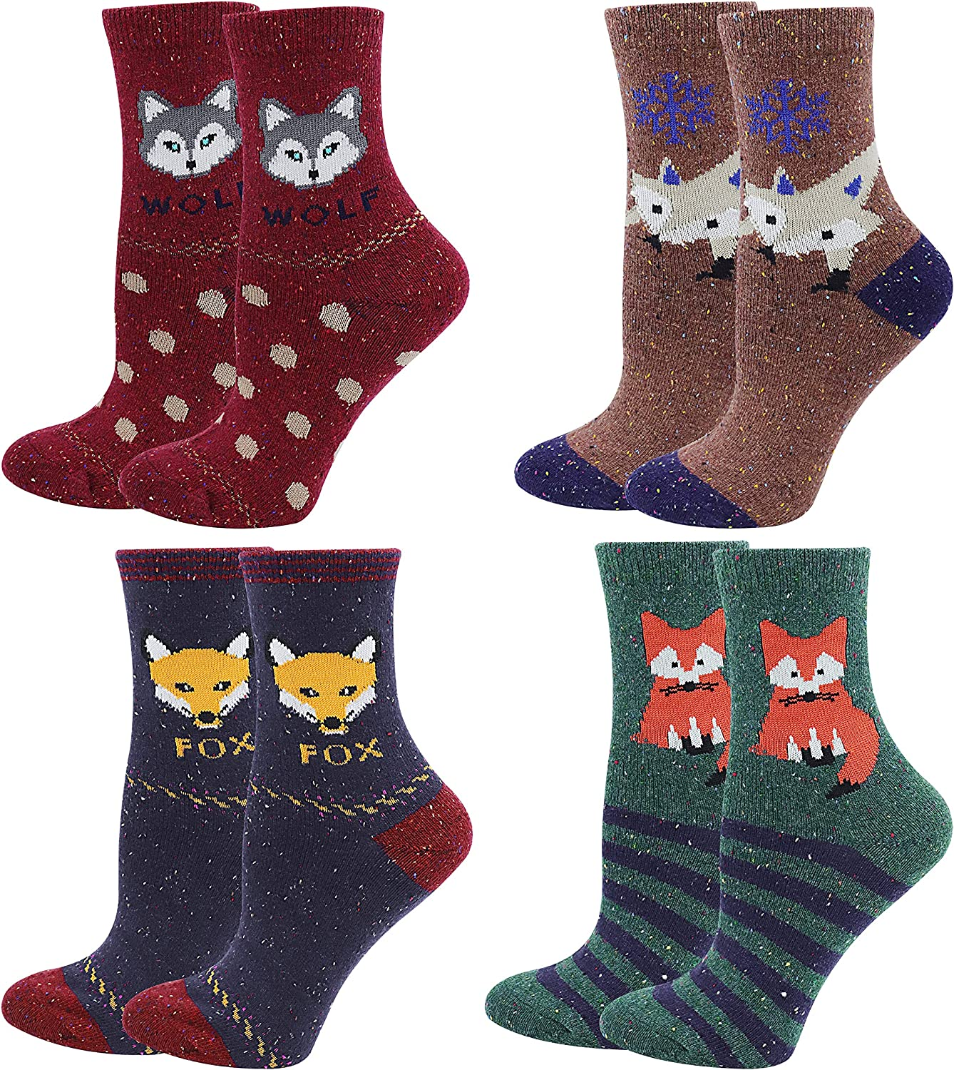 Colorful Women's Cotton Socks with Cartoon Animals Fox and Wolf, Pack of 4 Pairs