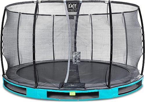 EXIT Elegant InGründ-Trampolin  cm mit Deluxe Sicherheitsnetz - blau