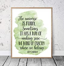 The Universe Is Funny Grey's Anatomy Quotes Inspiring Wall Art Nursery Prints Motivational Poster Dorm Room Decor Teen Room Wall Art Wood Pallet Design Wall Art Sign Plaque with Frame wooden sign