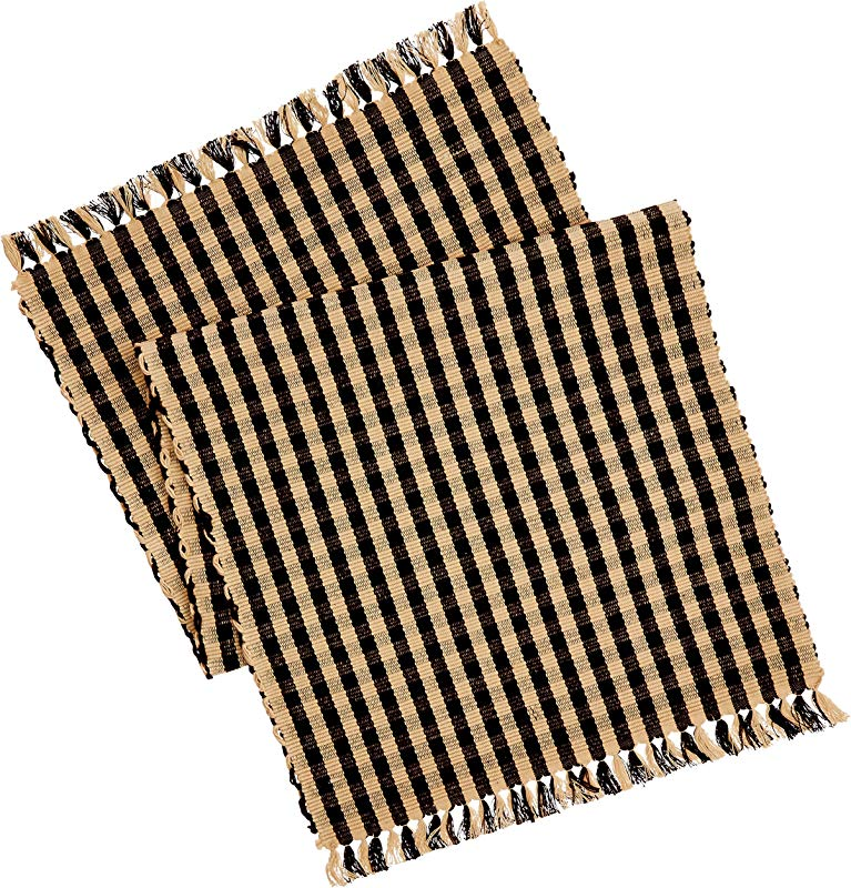 Home Collection By Raghu Heritage House Check Table Runner 14 By 36 Inch Black Nutmeg