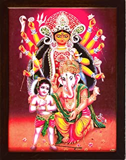 Handicraft Store Goddess Maa Kali with Lord Ganesha and Lord Child Ganesha, A Rare Hindu Religious Poster Painting with Hindu Worship/Religious/Spiritual Purpose
