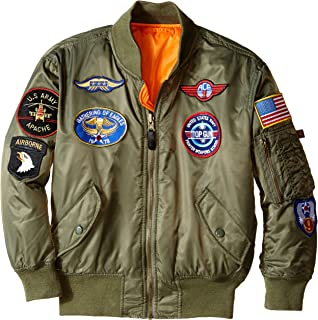 Alpha Industries Boys` MA-1 Bomber Jacket with Patches