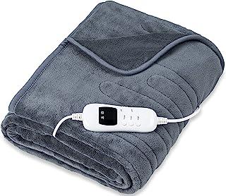sinnlein® warmtedeken van pluche 200 x 180 cm grijs gecertificeerd door TÜV SÜD GS | elektrische deken met automatische ui...