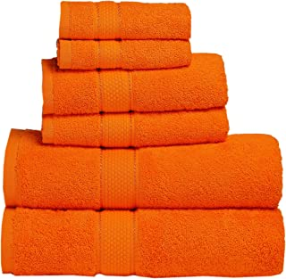 Premium Bath Towel 6 Piece Set (2 Bath Towels, 2 Hand Towel, 2 Washclothes) - Hotel & Spa Quality - 100% Combed Cotton Towels - Super Soft, Highly Absorbent and Machine Washable (Orange)