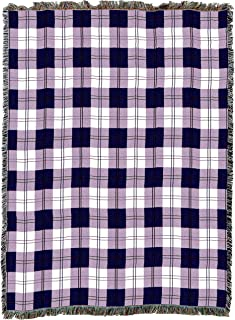 Pure Country Weavers | Boysenberry Plaid Woven Tapestry Throw Blanket with Fringe Cotton USA 72x54