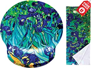 Van Gogh Irises Ergonomic Design Mouse Pad with Wrist Rest Hand Support. Round Large Mousing Area. Matching Microfiber Cleaning Cloth for Glasses & Screens. Great for Gaming & Work