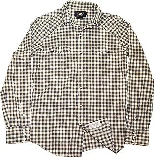 Polo Double RL RRL Men Western Snap Button Shirt Beige Brown Medium