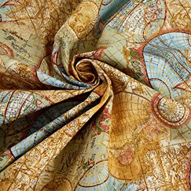 Timeless Treasures Metallic Library Atlas Globe Quilt Fabric