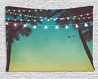 Ambesonne Nature Tapestry, Night Time Beach Sunset Design with Little Lantern and Island Palm Trees Art Print, Wide Wall Hanging for Bedroom Living Room Dorm, 60