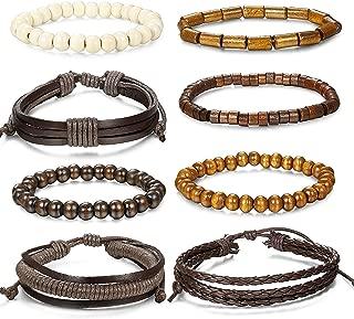 8-26 Pcs Braided Leather Bracelet for Men Women Wooden Beaded Bracelets Wrap Adjustable