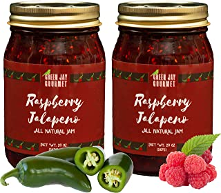 Green Jay Gourmet Raspberry Jalapeno Jam - All-Natural Raspberry Jam with Red Raspberries, Jalapeno Peppers & Lemon Juice - Vegan, Gluten-free Jam with No Preservatives - Made in USA - 2 x 20 Ounces