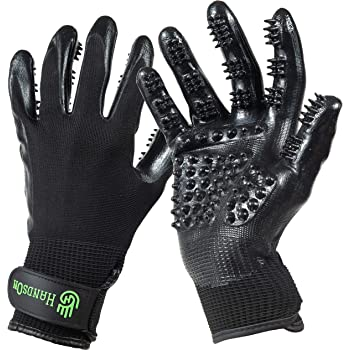 HandsOn Pet Grooming Gloves - Patented #1 Ranked, Award Winning Shedding, Bathing, & Hair Remover Gloves - Gentle Brush for Cats, Dogs, and Horses