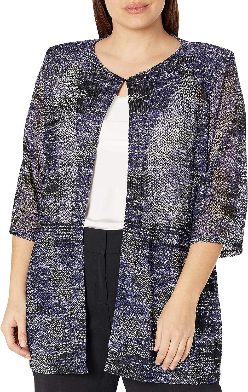 Kasper Women's Plus Size Textured Knit Cardigan with Foil Print