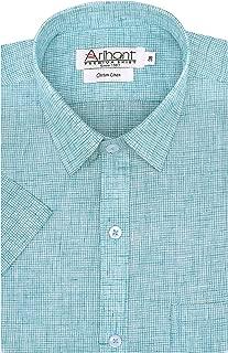 Arihant Checkered Cotton Linen Half Sleeves Regular Fit Formal Shirts for Men