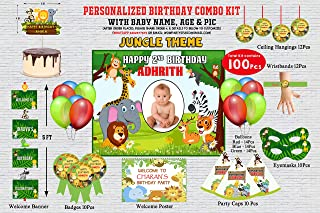 WoW Party Studio Personalized Jungle Theme Birthday Party Supplies with Birthday Boy/Girl Name - Combo Kit #1 (100 Pcs)