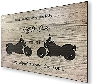 Olga212Patrick Motorcycle Family Name sign Established Date Wedding Couples Gift Gift for Bikers Rustic Wood Quote Art Harley