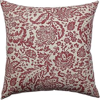 Oreiller Parfait damassé décoratif pour Sol carré, 24,5 cm x 24,5 cm, Rouge/Marron