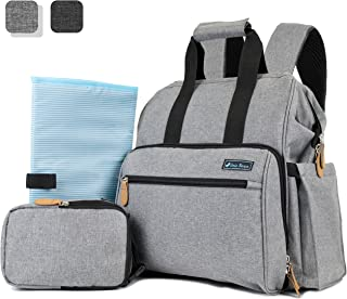 Deluxe Baby Diaper Backpack For Mom, Dad | Large Capacity Maternity Nappy Baby Bag with Insulated Bottle Bag, Changing Pad, and Stroller Straps (Light Grey)