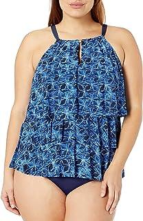 Coastal Blue Women's Plus Size Control Swimwear 3 Tiered Ruffle Tankini Top