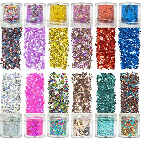 Azberg Body Glitter 180g Pack of 12 - Holographic Chunky Glitters for Nail Eye Face and Makeup - Resin Glitter in Different Sizes for Art and Craft