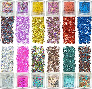 Azberg 12 Colors Holographic Chunky Glitter 180g for Body Face Makeup Nail and Resin - Different Size Face Glitter for Cos...