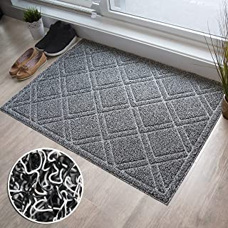BrigHaus Extra Large Outdoor Indoor Door Mat | Non-Slip Heavy Duty Front Welcome Doormat Rug, Outside Patio, Inside Entry Way, Catches Dirt Dust Snow & Mud - Black/White (32