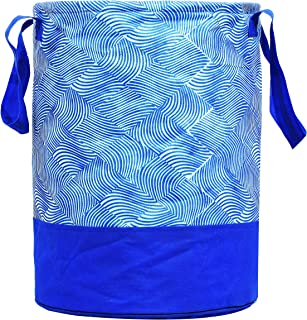 Kuber Industries Laheriya Printed Waterproof Canvas Laundry Bag, Toy Storage, Laundry Basket Organizer 45 L (Blue) CTKTC03...