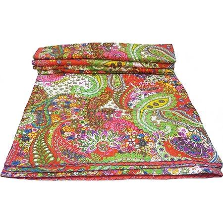 Kantha Blanket Handmade Paisley Print King Size Kantha Quilt Bed Cover King Kantha bedspread