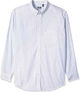 IZOD Men's Tall Size Slim Fit Button Down Long Sleeve Stretch Performance Tattersal Shirt
