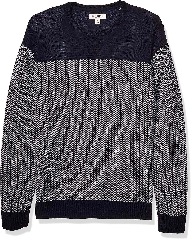 1960s Mens Shirts | 60s Mod Shirts, Hippie Shirts Goodthreads Mens Lightweight Merino Wool/Acrylic Crewneck Herrinbone Sweater  AT vintagedancer.com