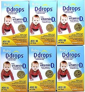 加拿大直邮 Baby Ddrops 400IU 90 Drops 加拿大婴儿宝宝维生素D3滴剂90滴补钙滴剂90滴 (6 瓶)