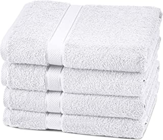 Pinzon Blended Egyptian Cotton, 100% Cotton, White, 4 Bath Towels