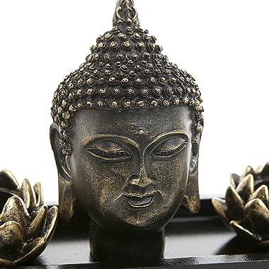 MyGift Black Buddha Head Sculpture Zen Garden Set w/Lotus Tealight Candle Holders & Wooden Display Tray