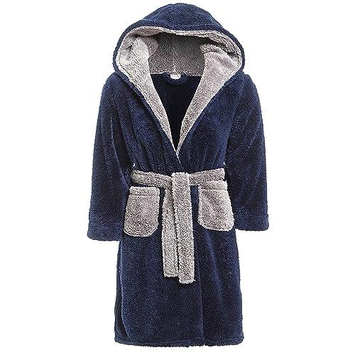 00371a4236 Slumber Hut® Luxury Boys Fleece Hooded Dressing Gown Warm Shaggy Snuggle Childrens  Robe - Navy