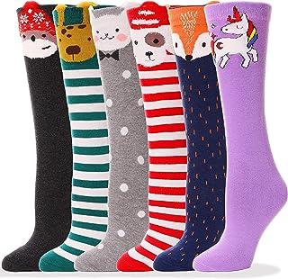Girls Knee High Socks Soft Cotton Novelty Socks Cute Animal Pattern 6 Pairs