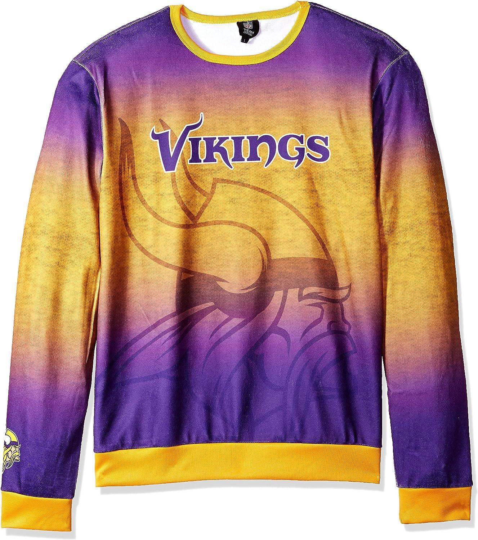 Minnesota Vikings Printed Gradient Crew Neck Sweater  Mens Large