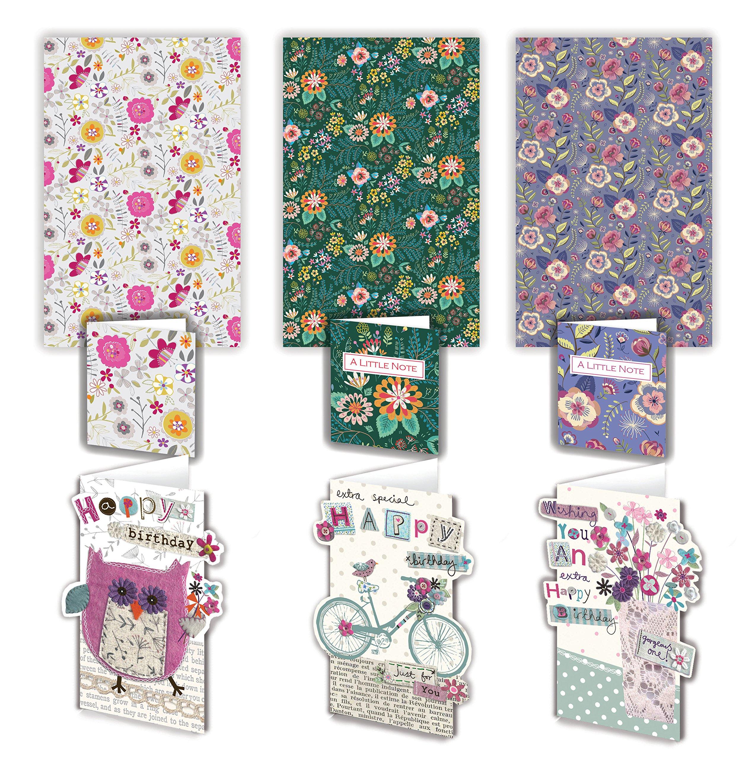 Lujo parachoques Pack de tarjetas y regalos para Mujeres – 3 hojas con tarjeta de cumpleaños y a juego Mini tarjeta etiquetas de regalo: Amazon.es: Oficina y papelería