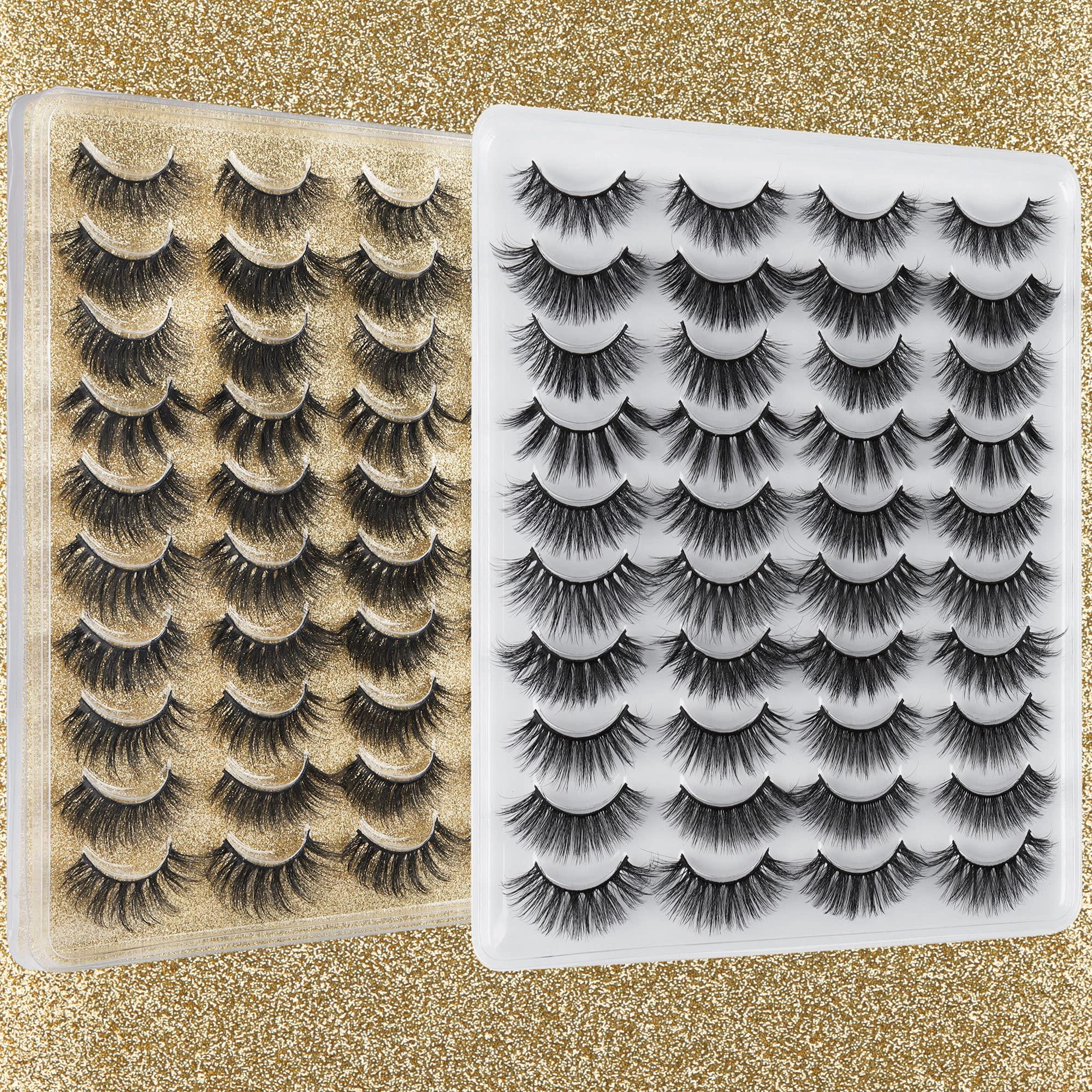 3D False Eyelashes 17-20MM Wispy Faux Mink Lashes ALPHONSE Natural Look Crossed Strip Fake Eyelashes 20 Pairs 10 Styles Mixed