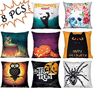 Geefuun 8PCS Halloween Throw Pillow Case Plush Velvet Cushion Cover - Holiday Party Favor Gift Decorations Decor Spider/Cat/Skeleton/Bat/Pumpkin/Ghost Hand/Skull for Sofa,Bed,Home (18x 18)