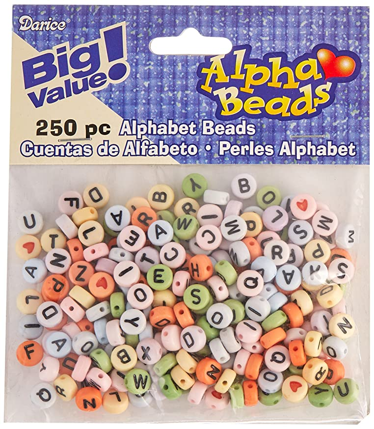 Darice Acrylic Round-Assorted Colors with Black Letters Alphabet Beads
