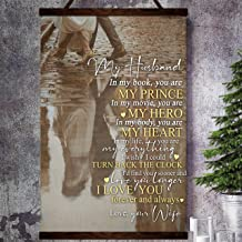 Zcocos Family Canvas Poster to My Husband in My Book You are My Prince My Hero My Heart Everything Love You Forever from Wife
