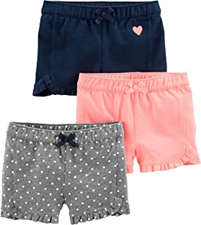 Simple Joys by Carter's 3-Pack Knit Shorts Bebé-Niñas, Pack de 3