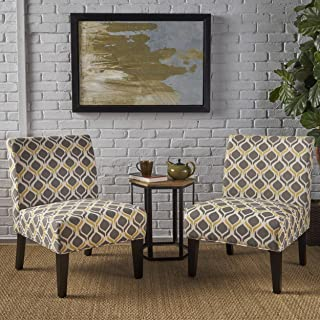 Christopher Knight Home Kalee Yellow and Grey Fabric Dining Chair (Set of 2)