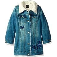 Guess Girls' Big Faux-Fur Trim Denim Jacket