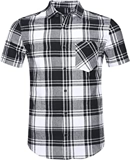 Men's Western Slim Fit Cotton Short Sleeve Plaid Flannel Shirt