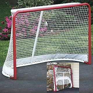 EZGoal Hockey Folding Pro Goal, 2-Inch, Red/White – On Goal Net (Renewed)