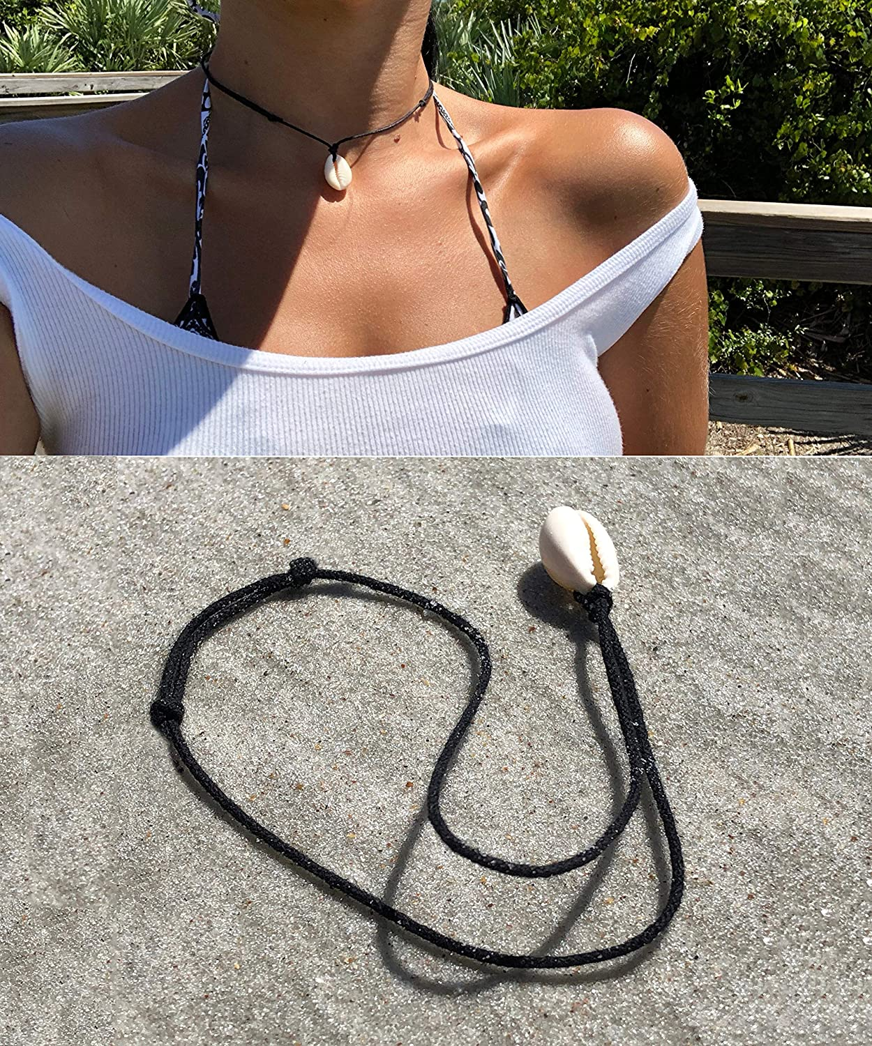 POTESSA Leather Cord Choker Necklace Double Knotted Adjustable Pendant Necklace Minimalist Jewelry for Women Men Unisex