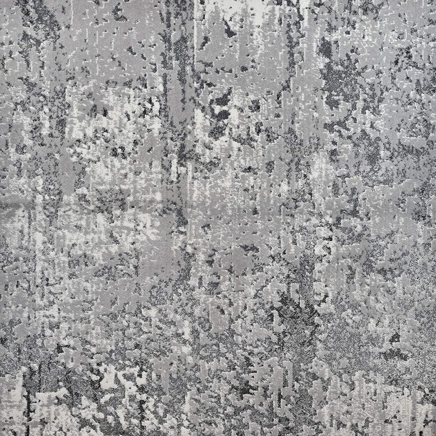 Charlotte Mall Kane Carpet 10' x High order 14' Contemporary Ivory Abstract and Gray Recta